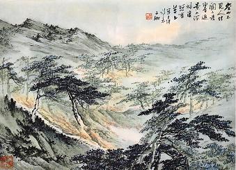 「鹿柴」申二伽・画〈詩与画 唐詩三百首〉.JPG